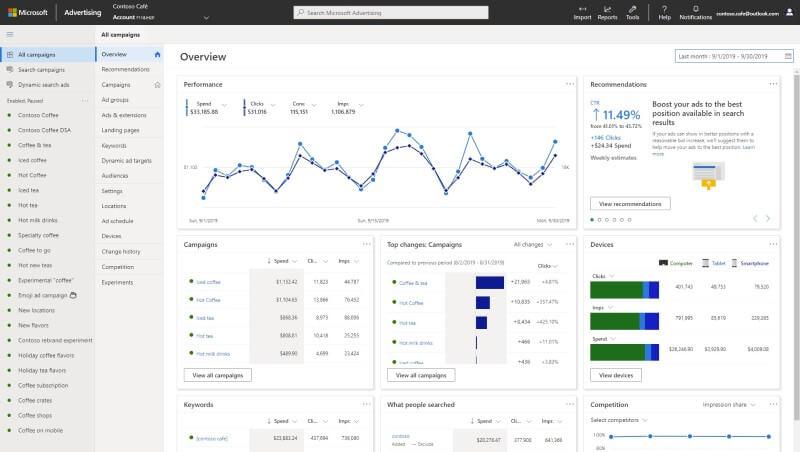 Microsoft Advertising Redesign Interface
